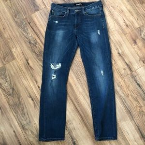 Express Cropped Skinny Mid Rise Distressed Jeans 6
